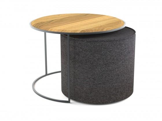 Drevený Konferenčný stolík s taburetom Modern (hnedá, šedá)