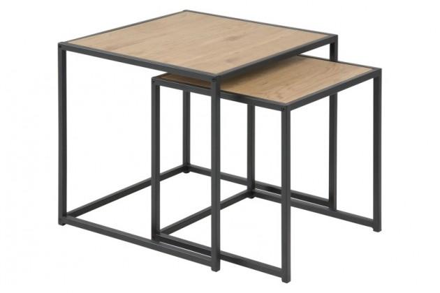 Drevený Konferenčný stolík Seaford - set 2 kusů (hnedá/čierna)
