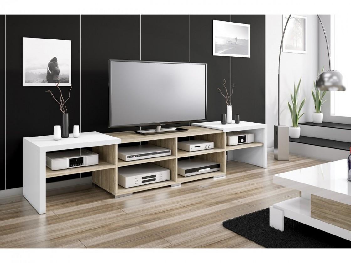Drevený Krypton - TV stolík (biela vysoký lesk/dub sonoma)