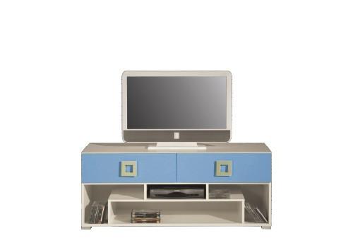 Drevený LABYRINT LA 11 - TV stolík (krémová/modrá)