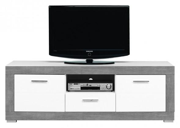 Drevený Lightning - TV stolík (biela, sivá)