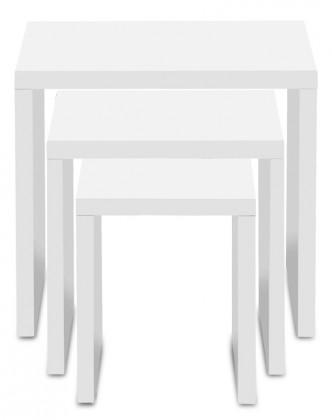 Drevený Linea - konferenčný stolík, 3ks v sade (biela)