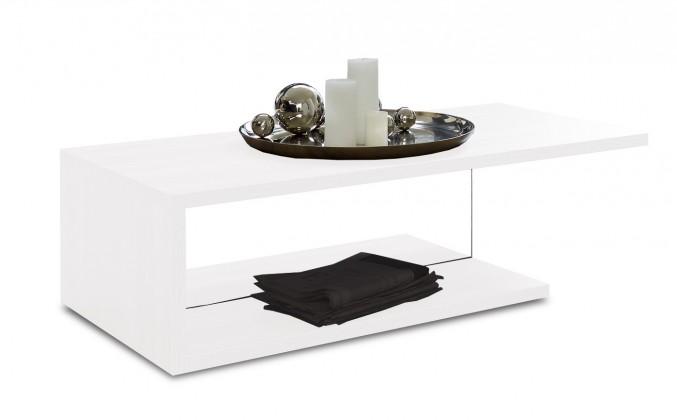 Drevený Linea - Konferenčný stolík (biela s čírym sklom)