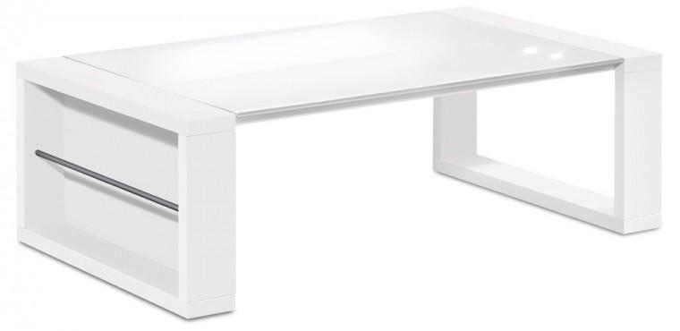Drevený Linea - konferenčný stolík (biela/sklo čisto biele)