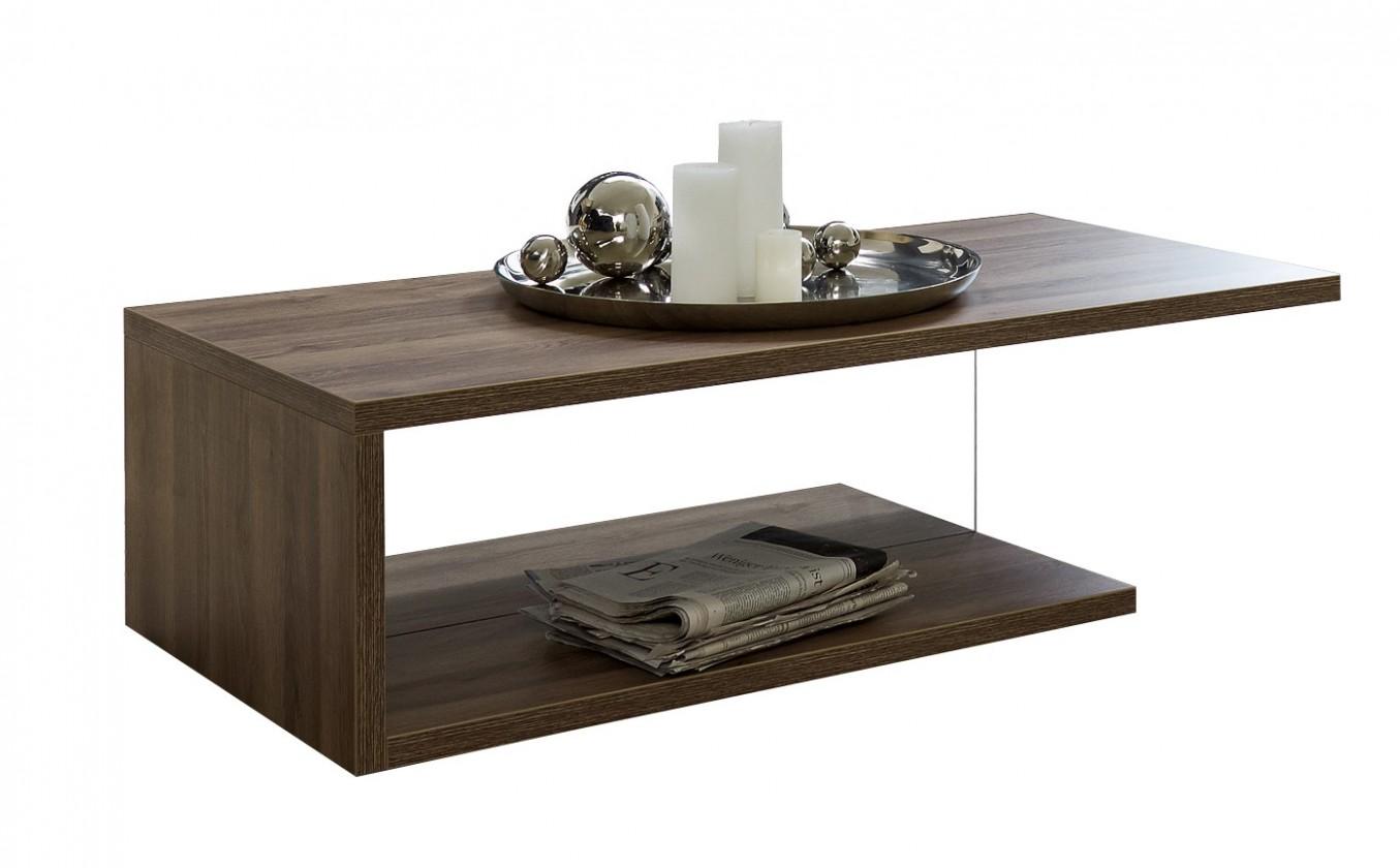 Drevený Linea - Konferenčný stolík (dub tmavý HN s čírym sklom)