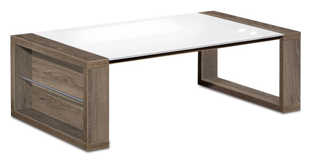 Drevený Linea - konferenčný stolík (dub tmavý HN/sklo čisto biele)