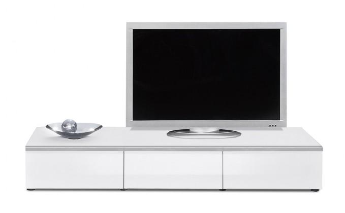 Drevený Linea - TV prvok so zásuvkami (biela/biela lak HG/strieborná)