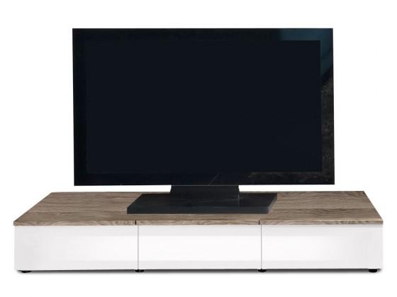 Drevený Linea - TV prvok so zásuvkami (dub tmavý/biela lak/dub tmavý)