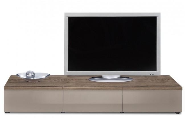 Drevený Linea - TV prvok so zásuvkami (dub tmavý/sivý kam.lak/dub tmavý)