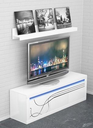 Drevený Lino - Nízka TV komoda, závesná polica, LED osvetlenie (biela)