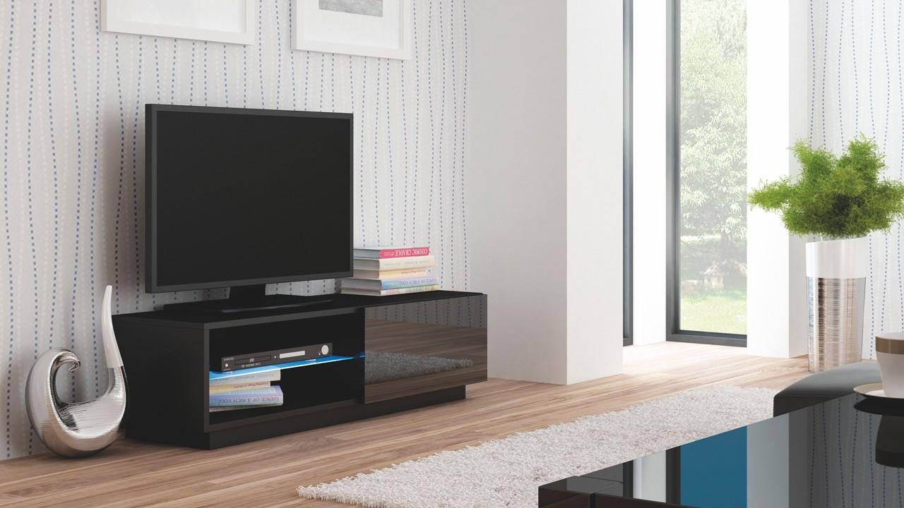 Drevený Livo - TV stolík 120 stojící (černá mat/černá lesk)