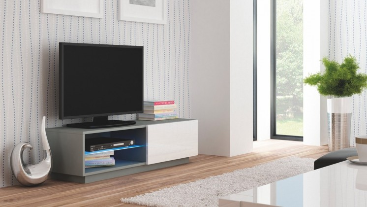 Drevený Livo - TV stolík 120 stojící (šedá mat/bílá lesk)