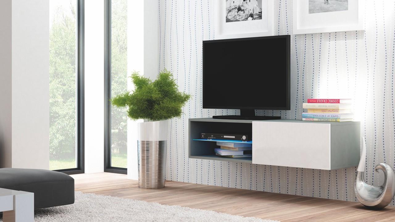 Drevený Livo - TV stolík 120 závesný (šedá mat/bílá lesk)