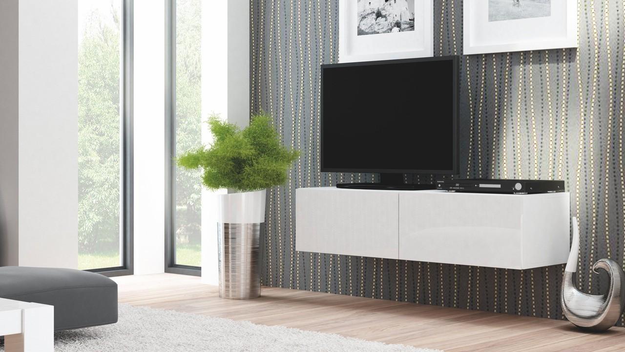 Drevený Livo - TV stolík 160 závesný (bílá mat/bílá lesk)