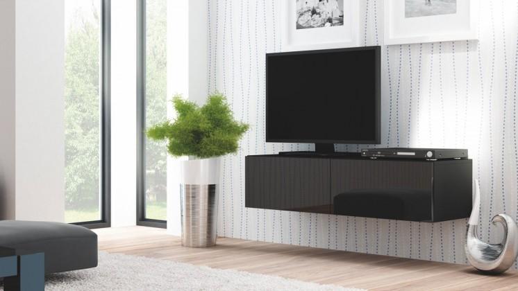 Drevený Livo - TV stolík 160 závesný (černá mat/černá lesk)