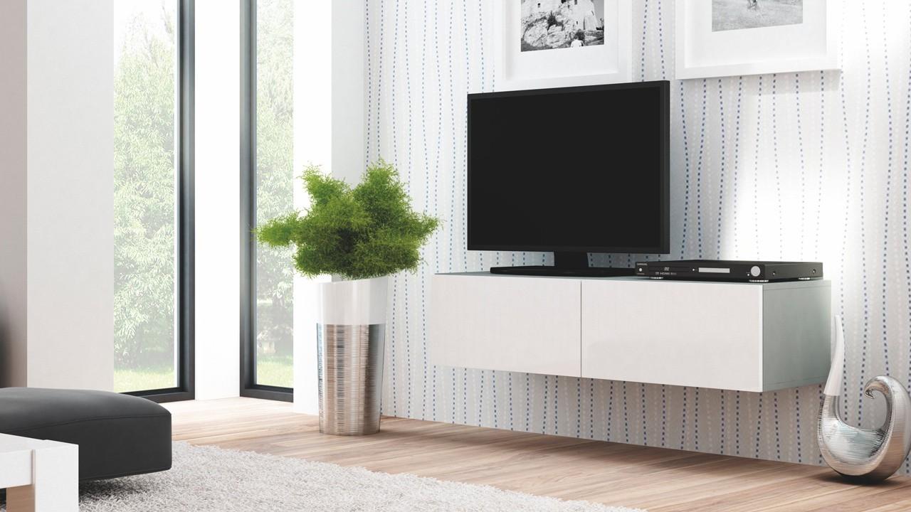 Drevený Livo - TV stolík 160 závesný (šedá mat/bílá lesk)