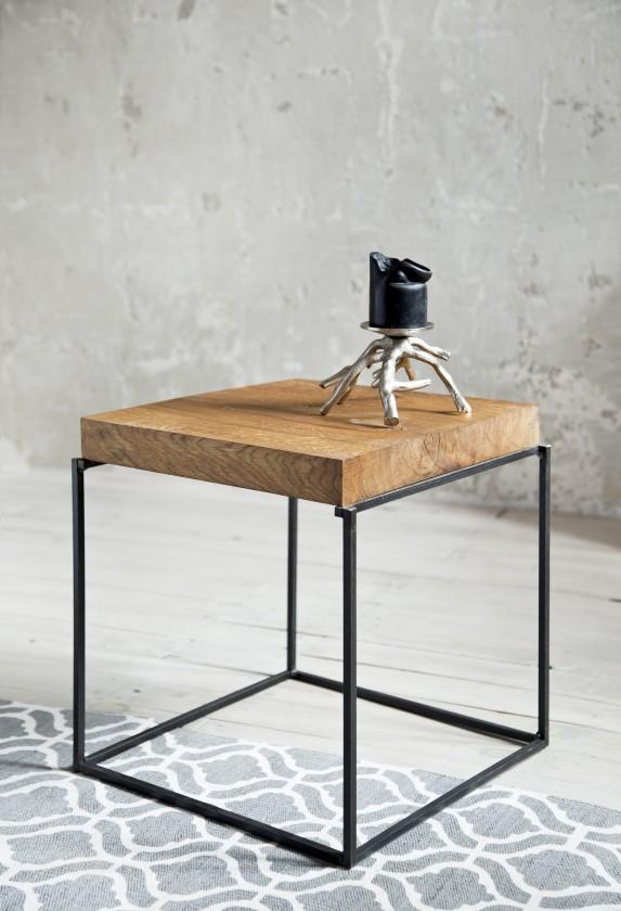 Drevený Loft - Konferenčný stolík štvorec nízky, 40x40x40 cm