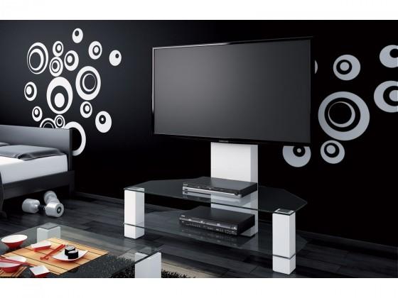 Drevený Lugano - TV stolík s držiakom (biela vysoký lesk/sklo číré)