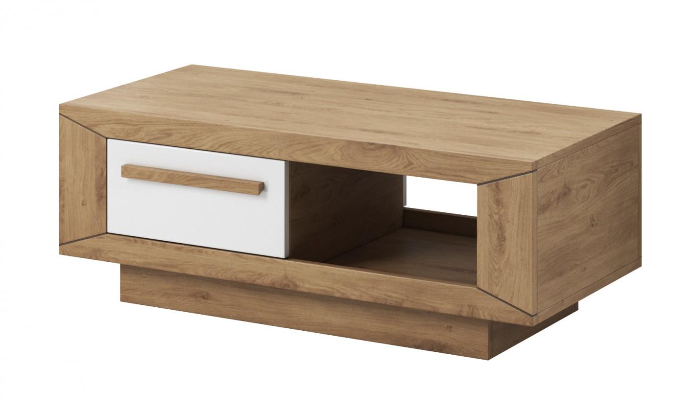 Drevený Lumi - Konferenčný stolík (dub beaufort, biely lesk)