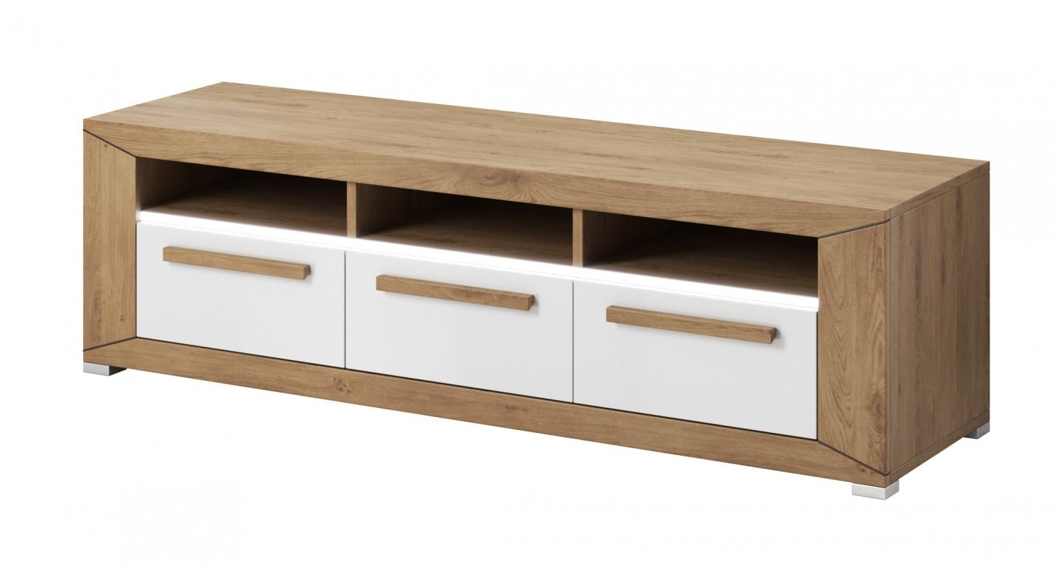Drevený Lumi - TV stolík, 3 zásuvky (dub beaufort, biely lesk)