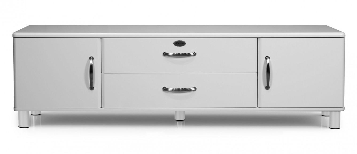 Drevený Malibu - TV stolík (biela, 2x dvere,1x zásuvka,1x sklopné dvere)