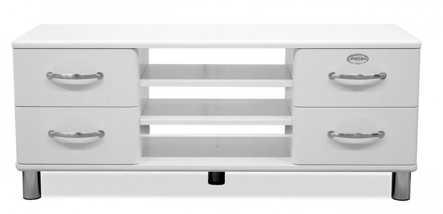 Drevený Malibu - TV stolík (biela, 4x zásuvka, 2x police)