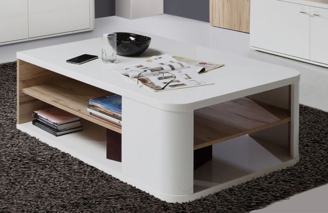 8c524a927 ... Drevený Marlow - Konferenčný stolík (biela/biela lesk/dub)