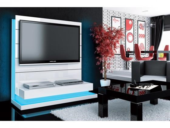 Drevený Panorama lux - TV stolík s držiakom (biela vysoký lesk)
