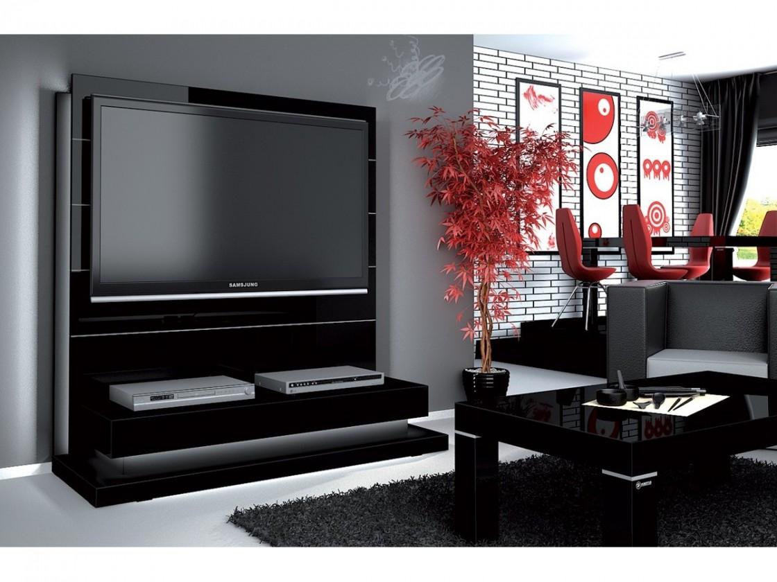 Drevený Panorama lux - TV stolík s držiakom (čierna vysoký lesk)