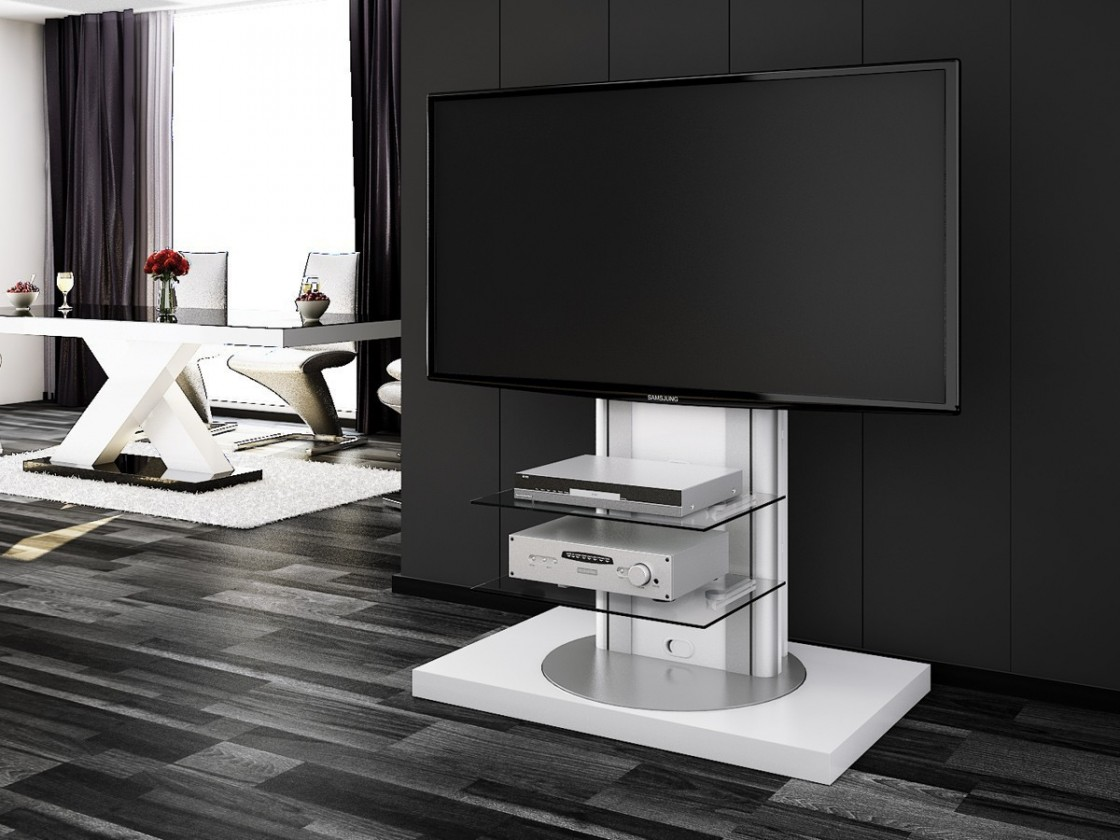 Drevený Roma - TV stolík s držiakom (biela vysoký lesk)
