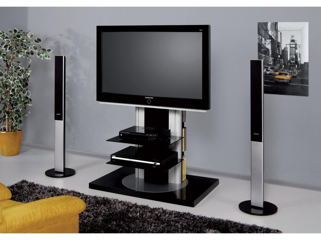 Drevený Roma - TV stolík s držiakom (čierna vysoký lesk)