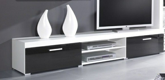 Drevený Samba - TV skriňa (biela mat - korpus / čierny lesk - fronty)
