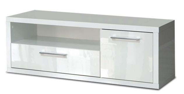 Drevený Shine - TV komoda, 2x zásuvka (biela lesk)