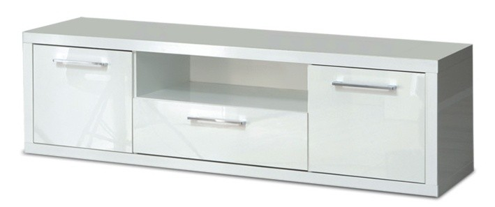 Drevený Shine - TV komoda, 3x zásuvka (biela lesk)