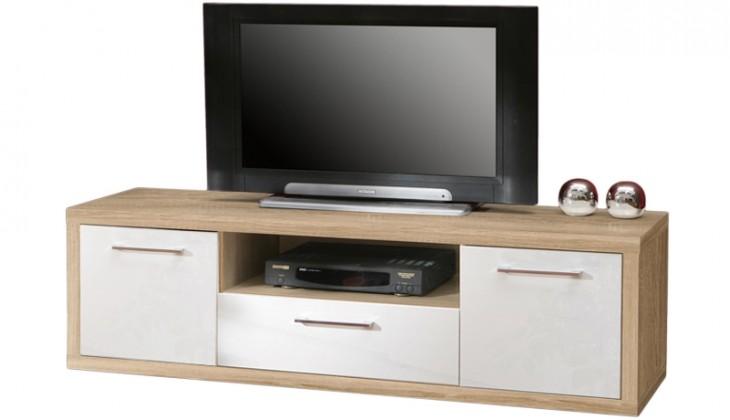 Drevený Shine - TV komoda, 3x zásuvka (dub sonoma / biela lesk)