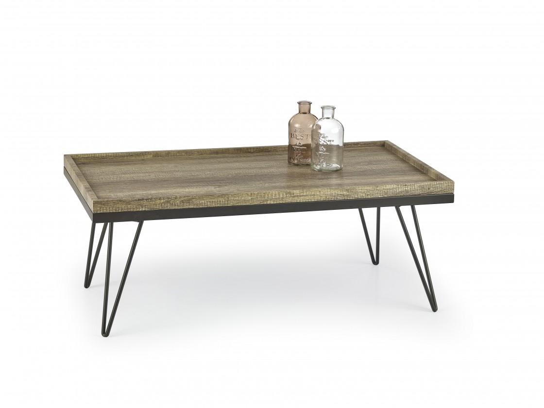 Drevený Silvia - konferenčný stolík (dub žíhaný/čierná)