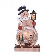 Drevený snehuliak Solight 1V233, 4xLED, 29cm