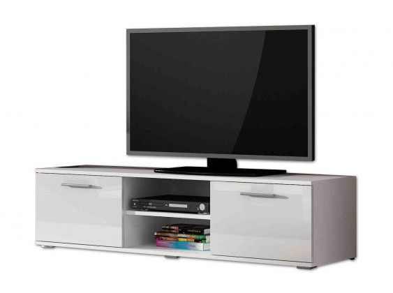 Drevený Soho - TV komoda (biely mat / biela lesk, RTV '140')