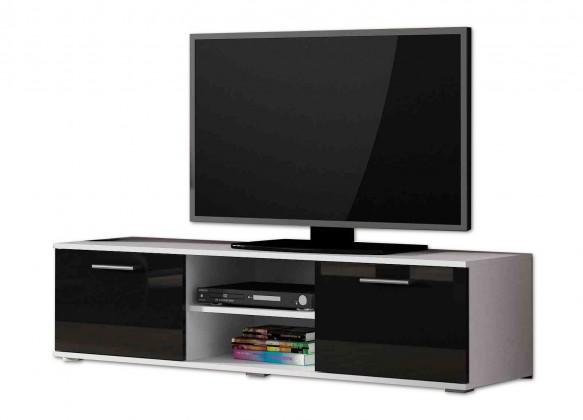 Drevený Soho - TV komoda (biely mat / čierna lesk, RTV '140')