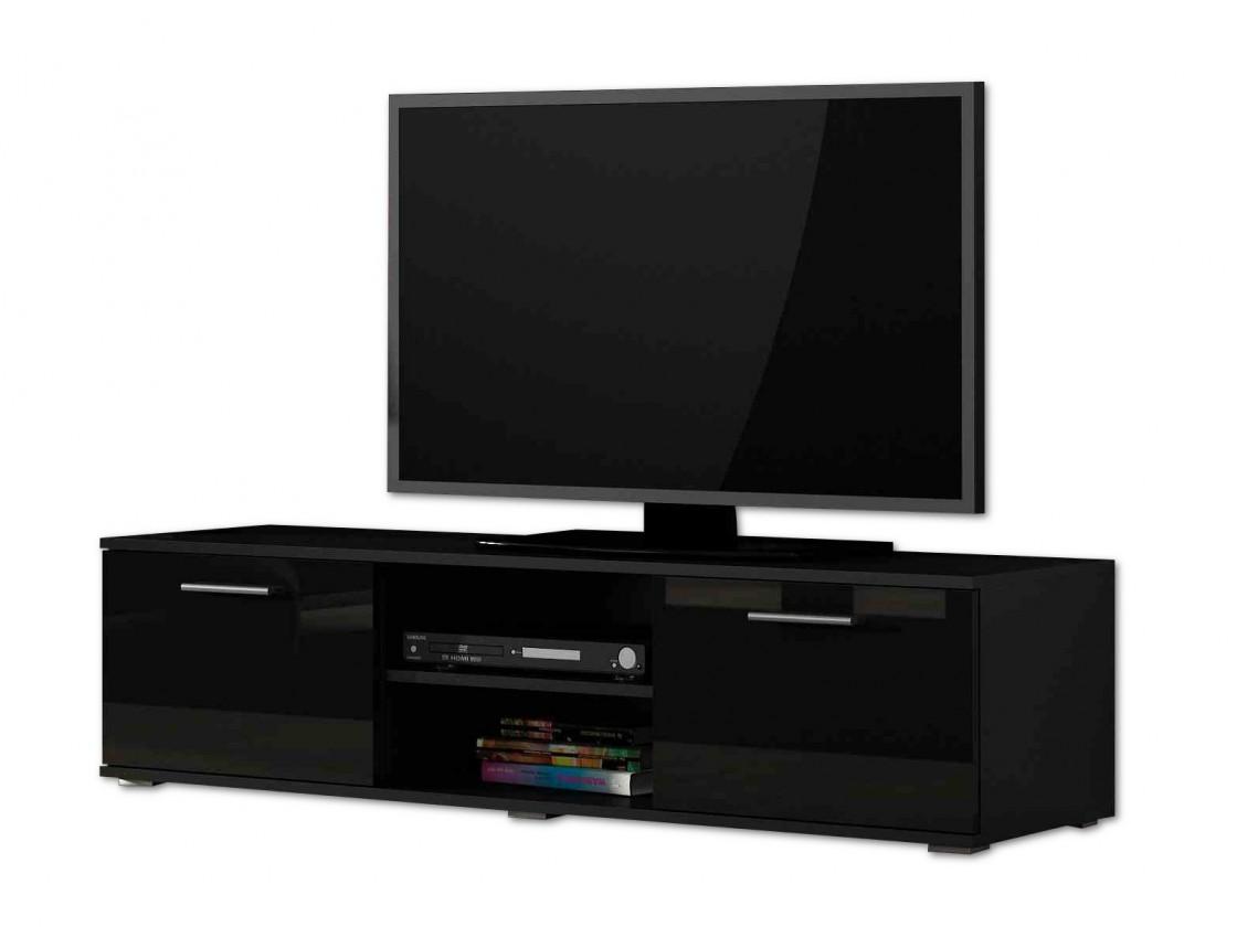 Drevený Soho - TV komoda (čierny mat / čierna vysoký lesk, RTV '140')