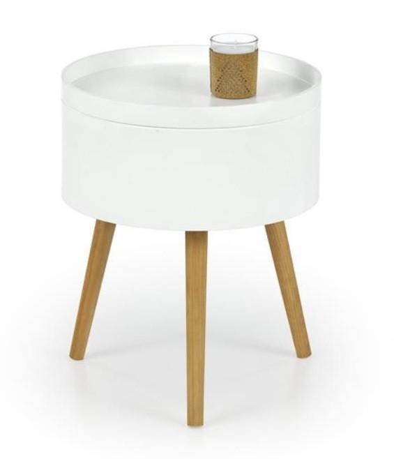 Drevený Supra - Konferenčný stolík (biela, dub sonoma)