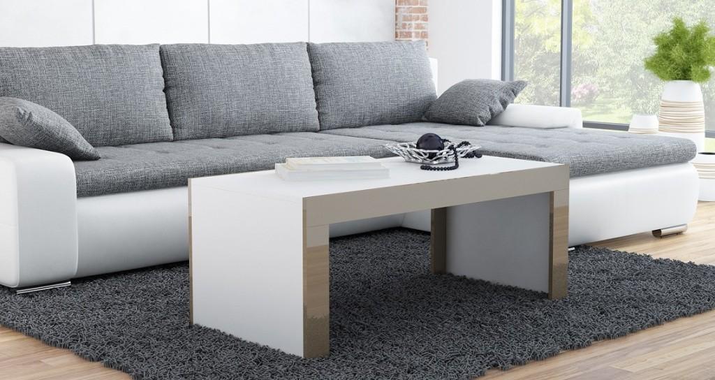 Drevený Tess - Konferenčný stolík obdĺžnik (biela, hnedá)