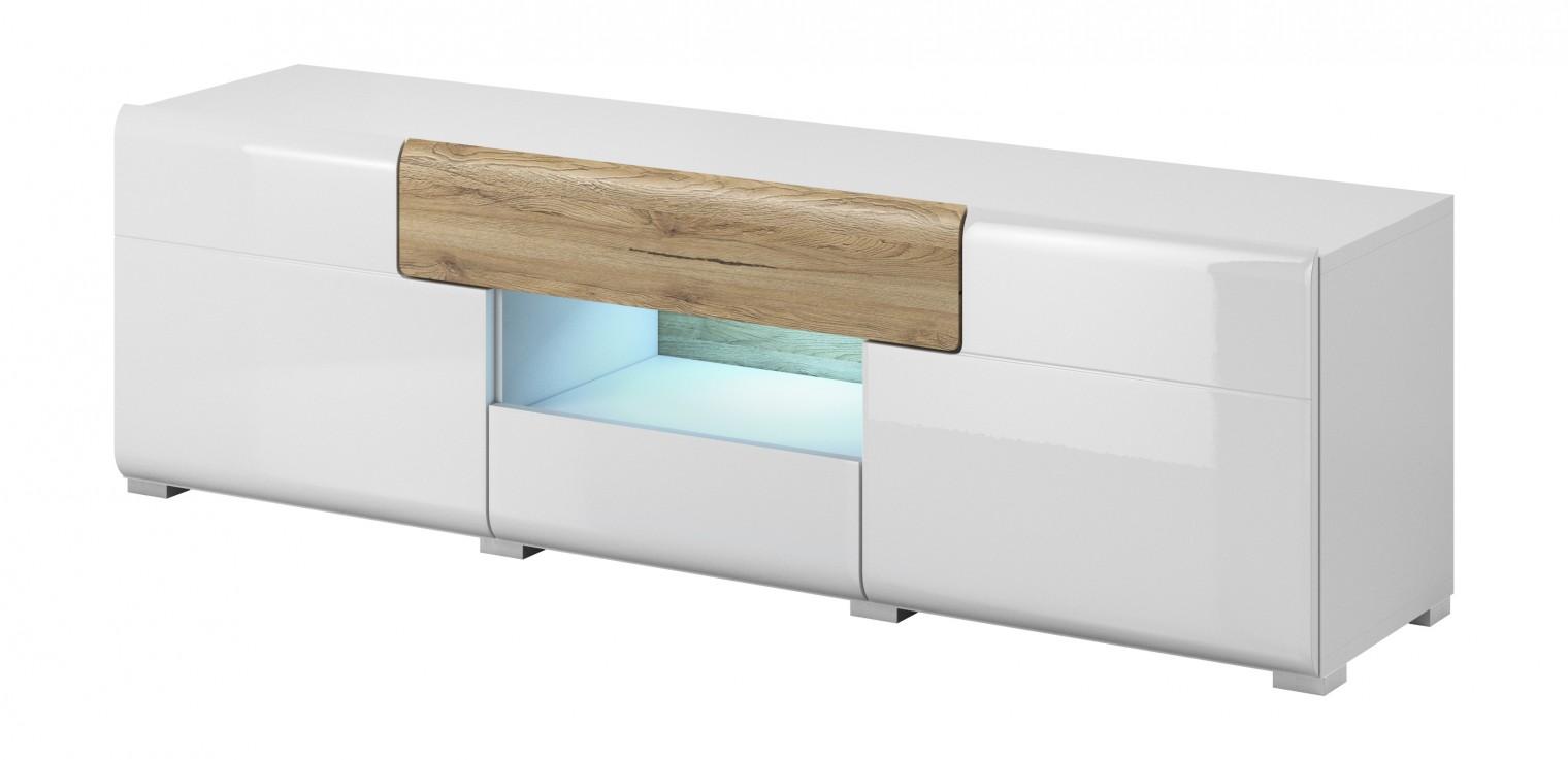 Drevený Toledo - TV stolík malý (biela, dub san remo)