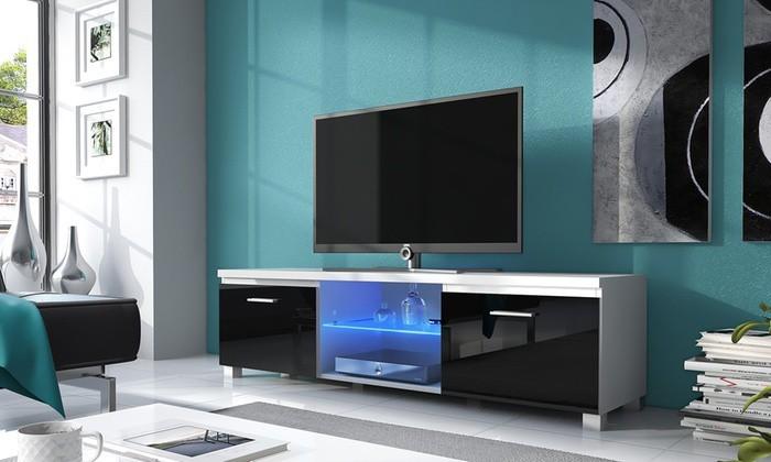 Drevený TV 2 - TV stolík (biela/čierna)