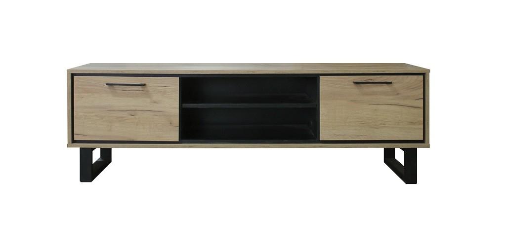 Drevený TV stolík Brick (dub, čierna)