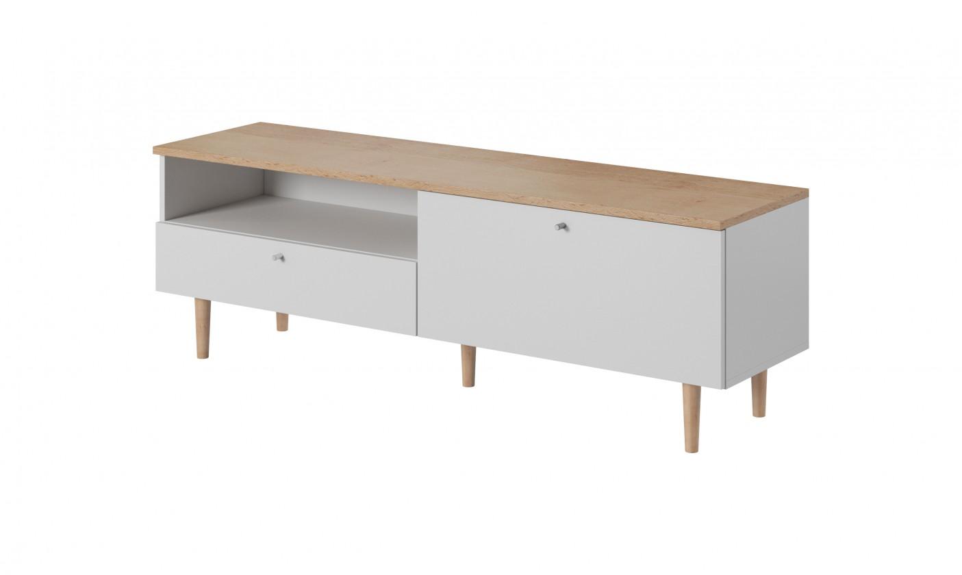 Drevený TV stolík Loveli (buk pieskový, biela)