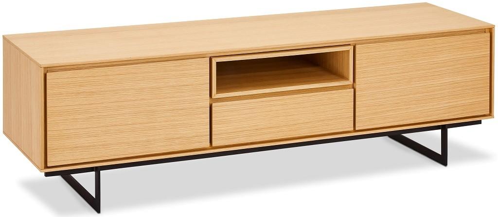 Drevený TV stolík Lure (1 zásuvka, 2x dvere, dub, čierna)