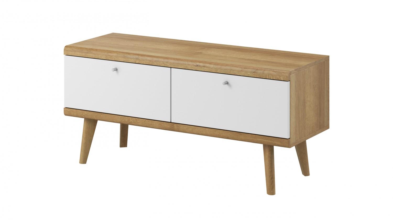 Drevený TV stolík Primo (dub riviera, biela)