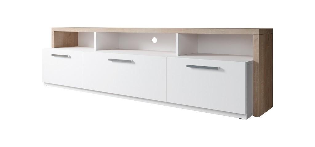 Drevený TV stolík Segan (dub sonoma, biela)