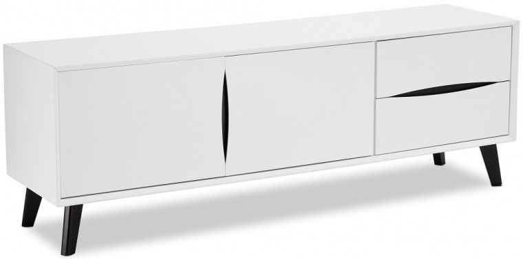 Drevený TV stolík Sens (biela, čierna)